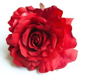 Blooming Georgia  Rose in Red - Artificial Flower, Silk Flower Heads - ITEM 0560