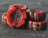 Lava Pansy Czech Glass Picasso Chunky 14mm Flower Beads : LAST 6 pc Czech Red Cardinal HawaiianFlower