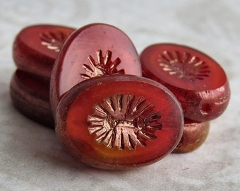 Flame Orange Czech Glass 13x10mm Oval Bead  :  6 pc Czech Orange 13mm Oval