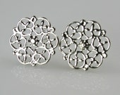 Silver Plated Filigree Stud Earrings destash