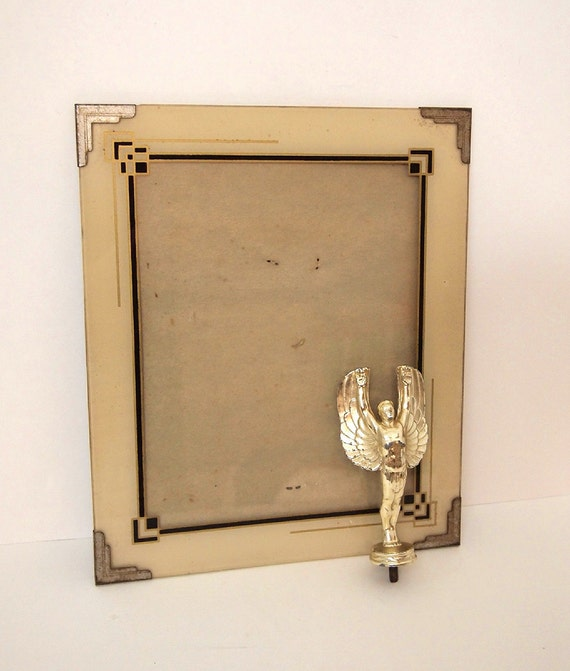 Nice Vintage Art Deco Glass Picture Frame With Metal Corner