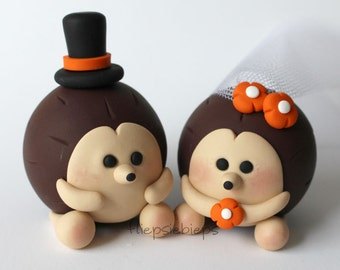 Custom Hedgehog Wedding Cake Topper (Brown)
