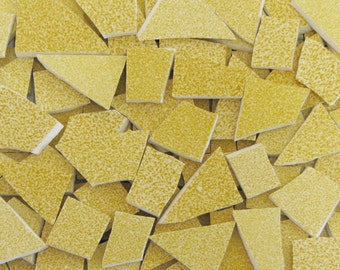 Mosaic Craft Tiles 150 Speckled Golden Yellow Pieces Hand Cut China Tessarae