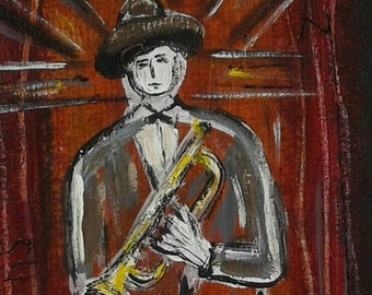 New Orleans Trumpet player , original painting