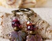 Maple Leaf Earrings - Dangle Earrings - Beaded Earrings - Leaf Earrings - Women's Earrings - Purple Earrings - Opaque Amethyst Leaf Earring
