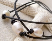 Black Leather and Pearl Necklace - Women's Freshwater Pearl Necklace - Leather and Pearl Necklace - Three Strand Necklace - Pearl Necklace