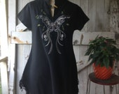 Vintage blouse bohemain blouse cotton blouse Hippie blouse butterfly tunic size medium Black shirt fringe shirt