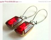 SALE ending soon Ruby Red Earrings, Garnet Earrings, Red Rhinestone Earrings, Estate Style, Gift for Her, January Birthstone - Holiday Red
