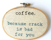 Wall Art - Hand Embroidered - Coffee - Wall Hanging