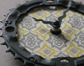 Bicycle Gear Clock - Gray and Yellow Damask  |  Bike Clock  | Wall Clock | Recycled Bike Parts Clock