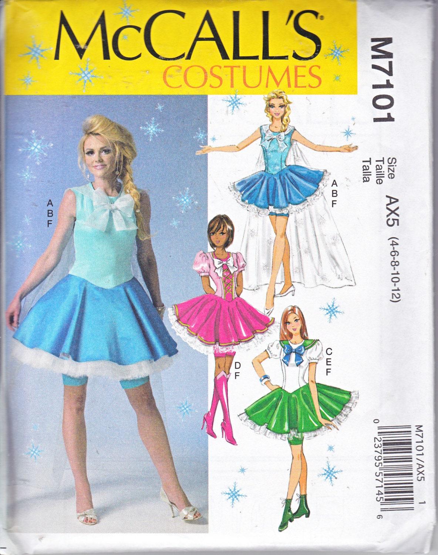 McCalls 7101 Misses Costume Cosplay Anime Frozen Sailor Moon