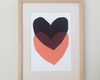 Black and Pink Heart Print