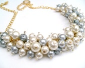 Pearl Necklace, Wedding Jewelry, Ivory and Silver Gray Pearl Chunky Beaded Necklace, Bridal, Bridesmaid Gift, Cluster Necklace, Gold Plated