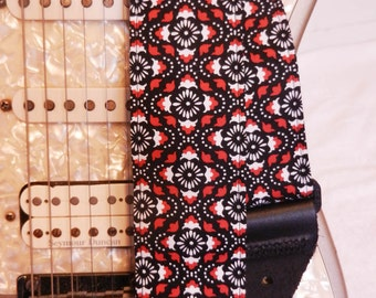 red black floral pattern hipster indie guitar strap