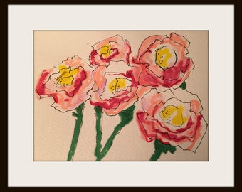 Happy Spring  Mothers Day Original Illustration Pen Watercolor flowers pink green greeting card
