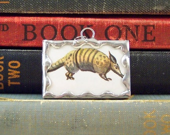 Armadillo Pendant  - Armadillo Charm - South Western Texas Animal Charm - Vintage Children's Dictionary Book Charm - Soldered Glass Pendant