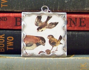 Sparrow Pendant - Bird Lover Charm - Vintage Dictionary Book Pendant - Stained Glass Style Pendant - Sparrow Bird Charm  - Bird Watcher