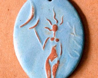 Spirit GoddessCeramic Bead - Blessingway Oval Goddess Bead - Stoneware Venus holding the Moon - Blessingway Gift