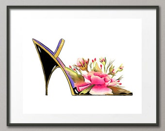 Fine Art Print Pink Purple Roses Flower Shoes Stiletto Pumps Fashion Colorful Watercolor Elena