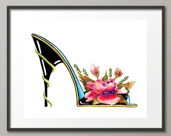 Fine Art Print Roses Flower Stiletto Fashion Colorful Watercolor Shoe Painting Abstract Modern Elena