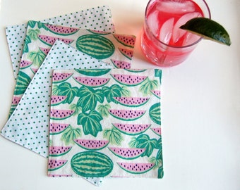 Melon Patch Cloth Cocktail Napkins / watermelon napkins / pink and green beverage napkin / summer party napkins / drink napkin / food theme