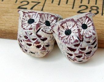 Handmade Rustic Polymer Clay Owl Bead