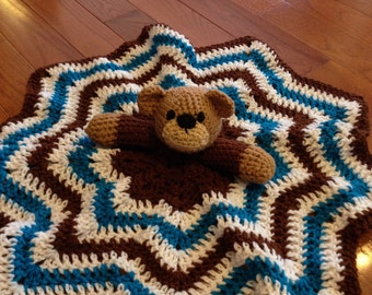 Teddy Bear Lovey Teddy Bear Blanket Teddy Bear Bear Lovey Bear Blanket Custom Personalized Monogram Crochet Teddy Bear Blanket