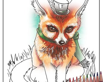 Fox Coloring Page Fox Art Printable Coloring Page Animal Coloring Page Mr Fox JPG Adult Coloring Page