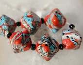 6 Large Southern Crystals , Coral Turquoise Black Silvered Ivory handmade diamond glass beads, lampwork beads by Beadfairy Lampwork, SRA