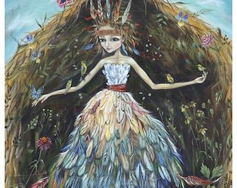 Mother Nature: Prairie Nest - Pop Surrealism Fine Art Print - by Heather Renaux-unframed