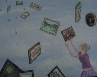FAlling Art print of casein painting
