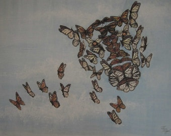 Monarch Tiger print of casein painting