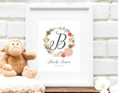 Custom Baby Name Monogram, Pink Nursery Print, Personalized Floral Nursery Art, Baby Shower Gift, Floral Wreath Monogram - 8x10 Art Print