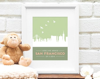 San francisco baby etsy personalized san francisco skyline new baby gift nursery art skyline personalized san francisco negle Image collections