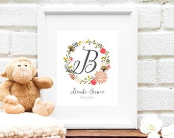 Floral Baby Monogram Initial, Pink Nursery Art Print, Personalized Floral Nursery Art, Baby Shower Gift, Floral Wreath Monogram - 8x10 Print
