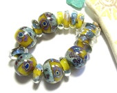 Handmade Lampwork Beads Boro Lemonade and Denim Spanky's Designs Boro Beads