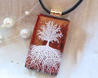 Tree of Life Dichroic Pendant, Fused Glass Jewelry, Enamel, Necklace Included, A2