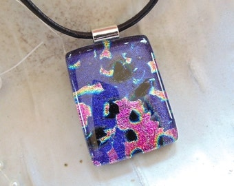 Dichroic Fused Glass Pendant, Purple, Pink, Black, Necklace Included