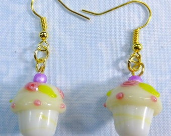 White Lampglass Cupcake Beads with Red Rose Details ane Purple Beads on top Dangle Earrings