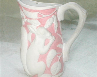 Porcelain Squirrel Pitcher - Pink and White Parian Ware Bisque Creamer - Metropolitan Museum of Art - Marked MMA Vintage Museum Reproduction