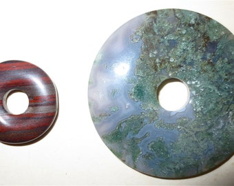 Agate Donut Stone Beads -  Ring Beads Vintage 80s - Focal Beads
