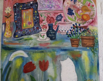 Amelie, The White Cat, Still life painting