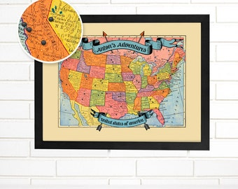 Push Pin Map, Personalized Vintage USA Pushpin Travel Map, Customized United States Adventures Push Pin Wall Map Art