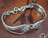 Stainless Steel Spoon Bracelet - Adjustable -  Rose Bloom Pattern