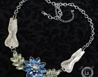 Spoon Statement Necklace - Magnolia Pattern with Crystal Flower -  Handcrafted From Antique Sterling Silver Plated Silverware by Doctor Gus