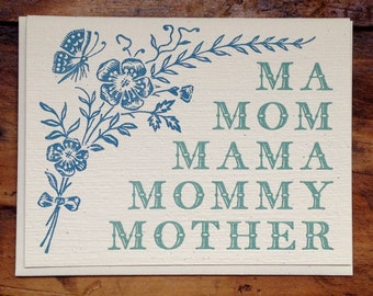 ma mom mama mommy mother letterpress card blank recycled paper hand printed