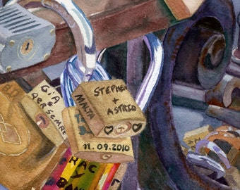 European Locks of Luck love still life watercolor painting Giclee Reproduction 8 x 10