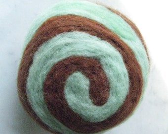 One multi-colored felted pin-cushion, mint green and brown