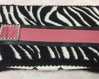 Black and White Zebra Travel Wipe Case for girl baby shower GIFT rhinestone buckle HOT PINK