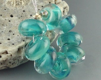 Handmade Lampwork Glass Beads, Lampwork Bead, Glass beads, Lampwork Spacer Beads, Indian Ocean